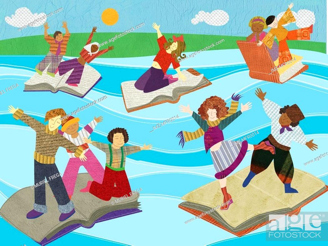 Stock Photo: Multicultural people standing on a river of open books.