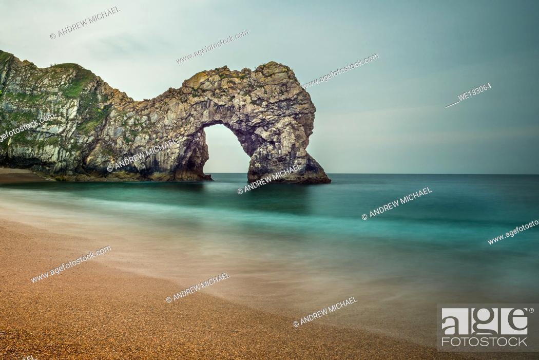 Stock Photo: Durdle door on the Jurassic Coast of Dorset. England, UK.