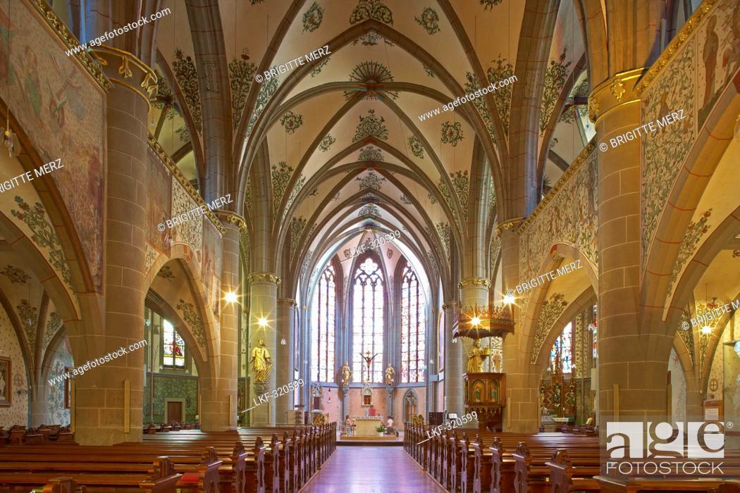 Stock Photo: Interior design of the St. Laurentius' parish church, Inside, Ahrweiler, Bad Neuenahr-Ahrweiler, Ahr, Eifel, Rhineland-Palatinate, Germany, Europe.
