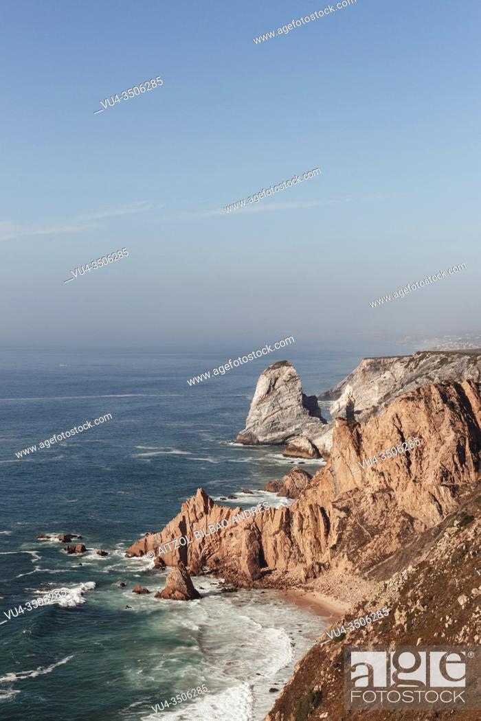 Stock Photo: Cabo da Roca is a cape which forms the westernmost point of the Sintra Mountain Range, of mainland Portugal, of continental Europe.