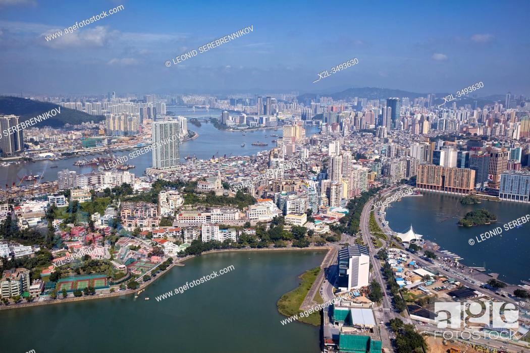 Stock Photo: Aerial view of the Macau Peninsula. Macau, China.