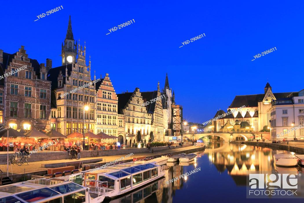 Stock Photo: Ghent at Dusk, Flanders, Belgium.