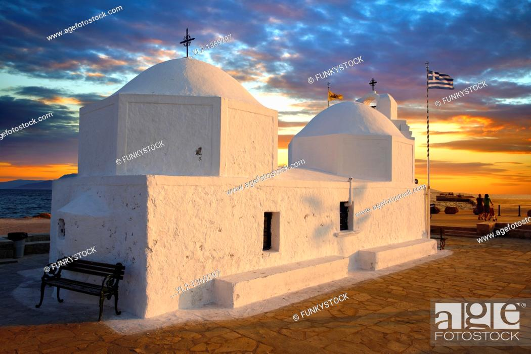 Stock Photo: The Byzantine church of Ayios Nikolaos Thalassinos, Aegina port, Saronic Islands, Greece.