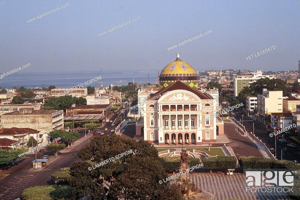 Stock Photo: Crispim do Amaral Theater, Manaus, Amazonas, Brazil.