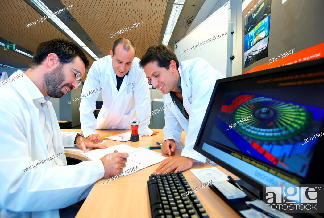 Stock Photo: Fluid dynamics simulations, Research team in building fire, Research on building materials, Tecnalia Research & Innovation, Zamudio, Bizkaia, Basque Country.