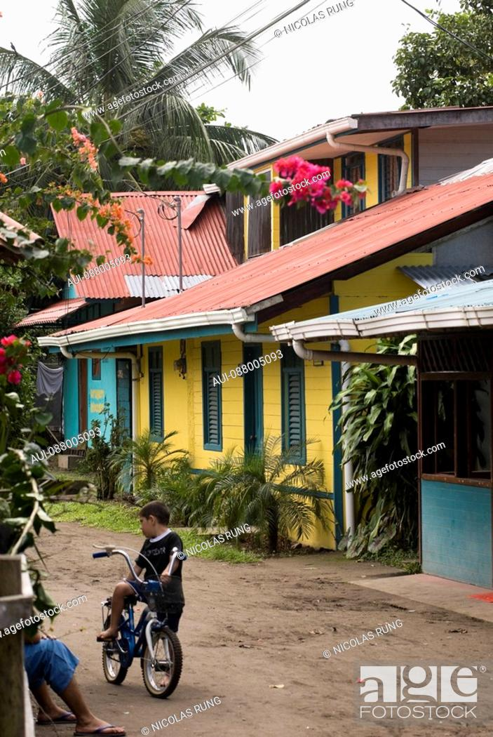 Stock Photo: Street of the village of Tortuguero.