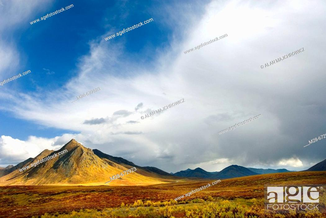 Stock Photo: Ogilvie Mountains in autumn color, Tombstone territorial Park, Yukon, Canada.