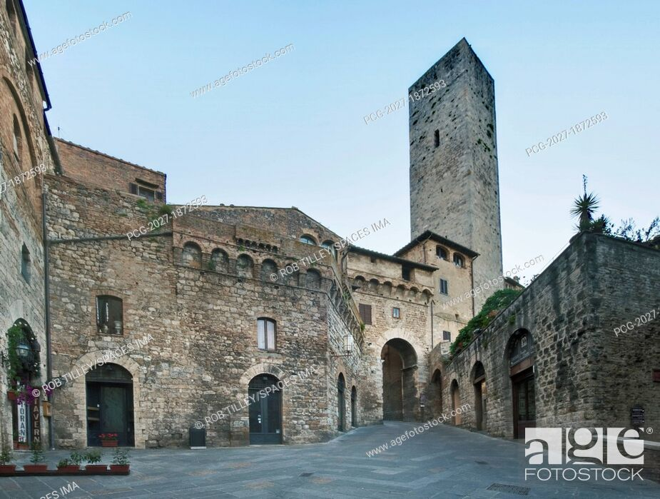 Stock Photo: Old European Gate and Tower.