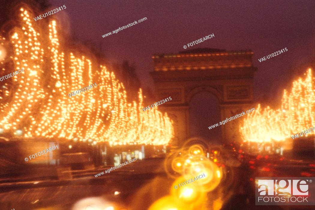 Stock Photo: Illuminations And The Arch Of Triumph.