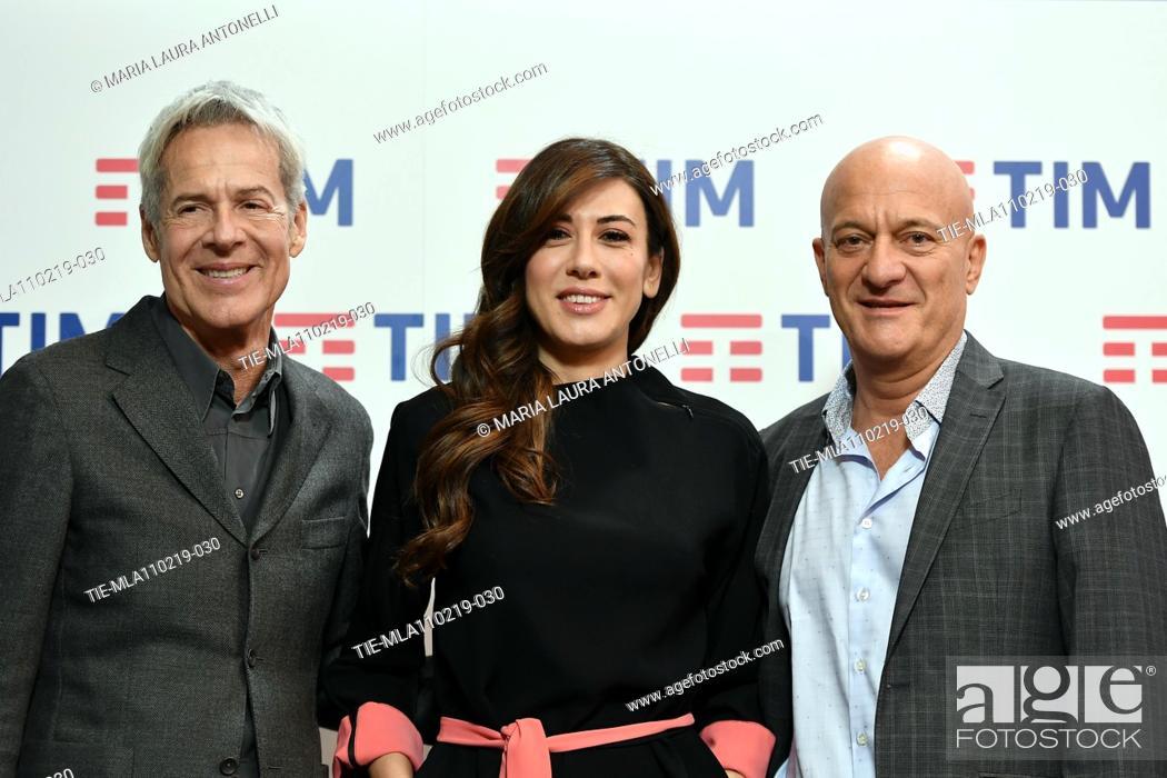 Imagen: Claudio Baglioni, Virginia Raffaele, Claudio Bisio during the final press conference of 69th Sanremo Music Festival, Sanremo, ITALY- 10-02-2019.
