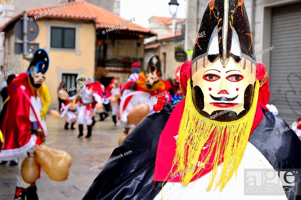 Stock Photo: Pantalla of Xinzo, mask of the Entroido or carnival in Xinzo de Limia, Orense, Spain.