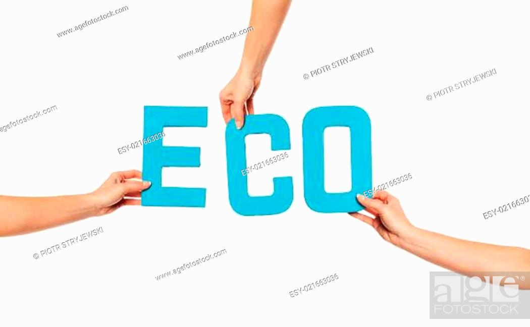 Stock Photo: Turquoise alphabet lettering spelling ECO.