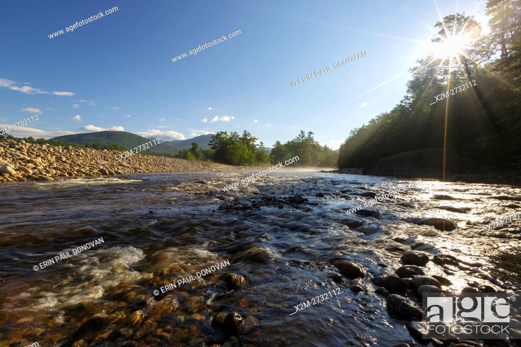 Stock Photo: East Branch of the Pemigewasset River during the summer months in Lincoln, New Hampshire.