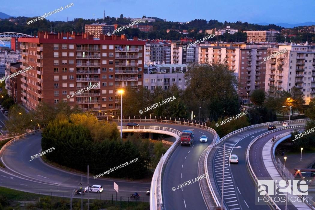 Stock Photo: Viaduct, Apartment buildings, Donostia, San Sebastian, Gipuzkoa, Basque Country, Spain, Europe.