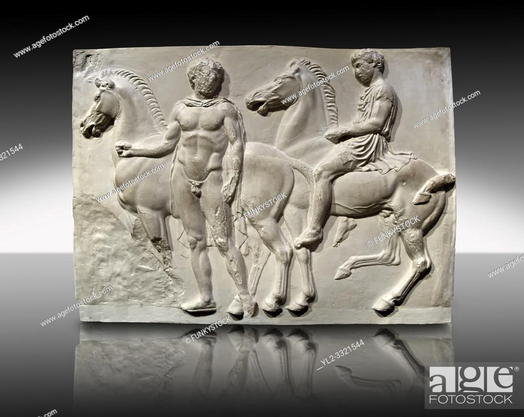 Imagen: Releif Sculptures from the frieze around the Parthenon Block V. From the Parthenon of the Acropolis Athens. A British Museum Exhibit known as The Elgin Marbles.