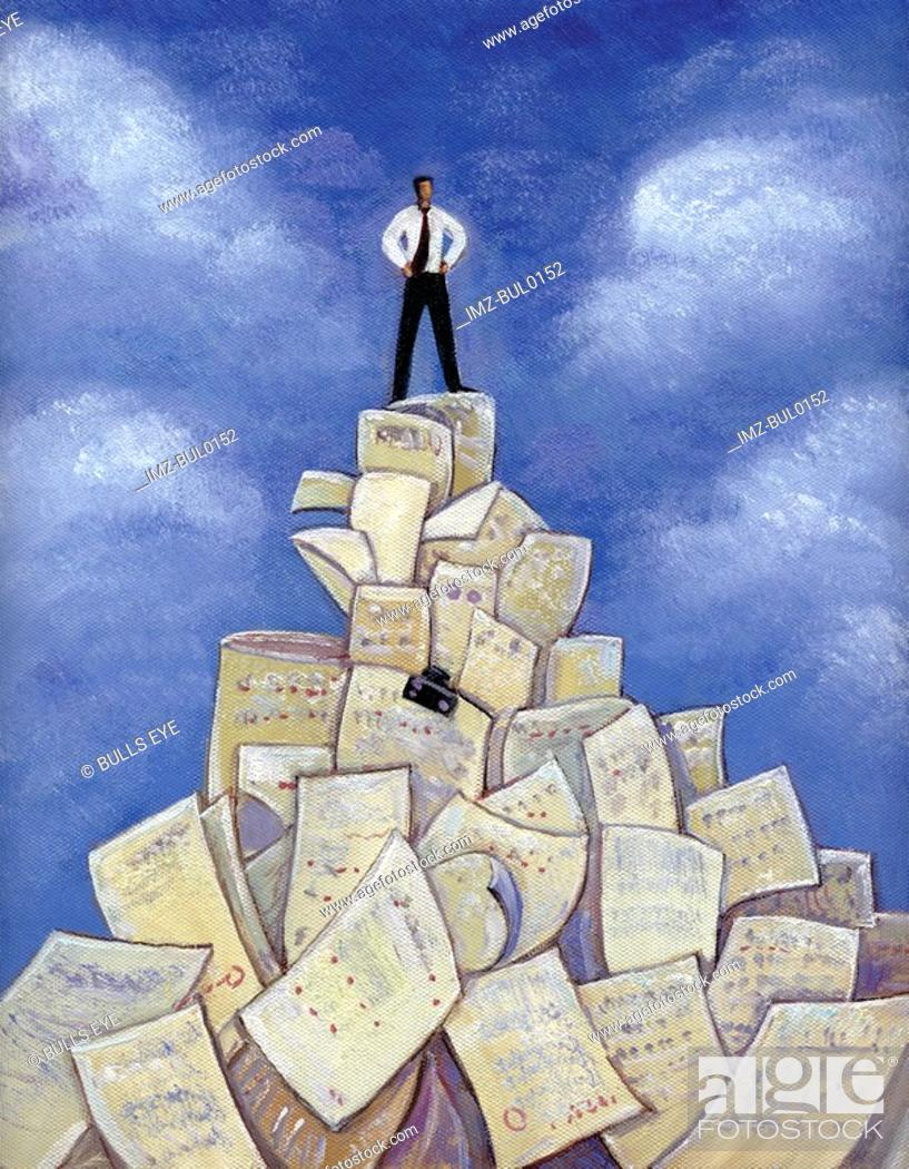 Stock Photo: An illustration of a man standing on a pile of paper.