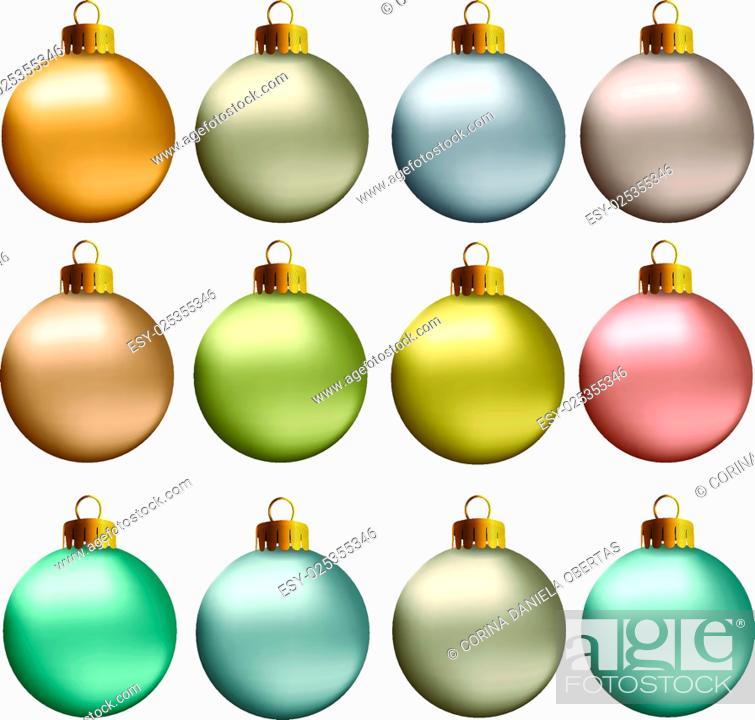 Stock Vector: Set of vectors - Christmas balls in earth, natural, pastel metallic colors.