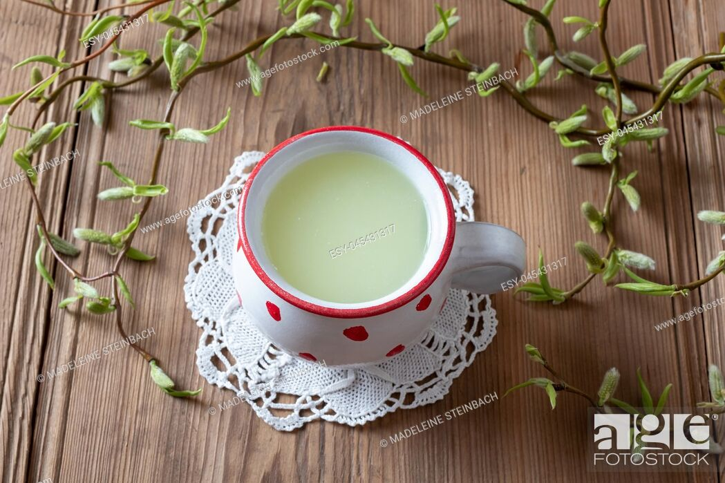 Stock Photo: Fresh whey in a mug, with young willow branches in the background.