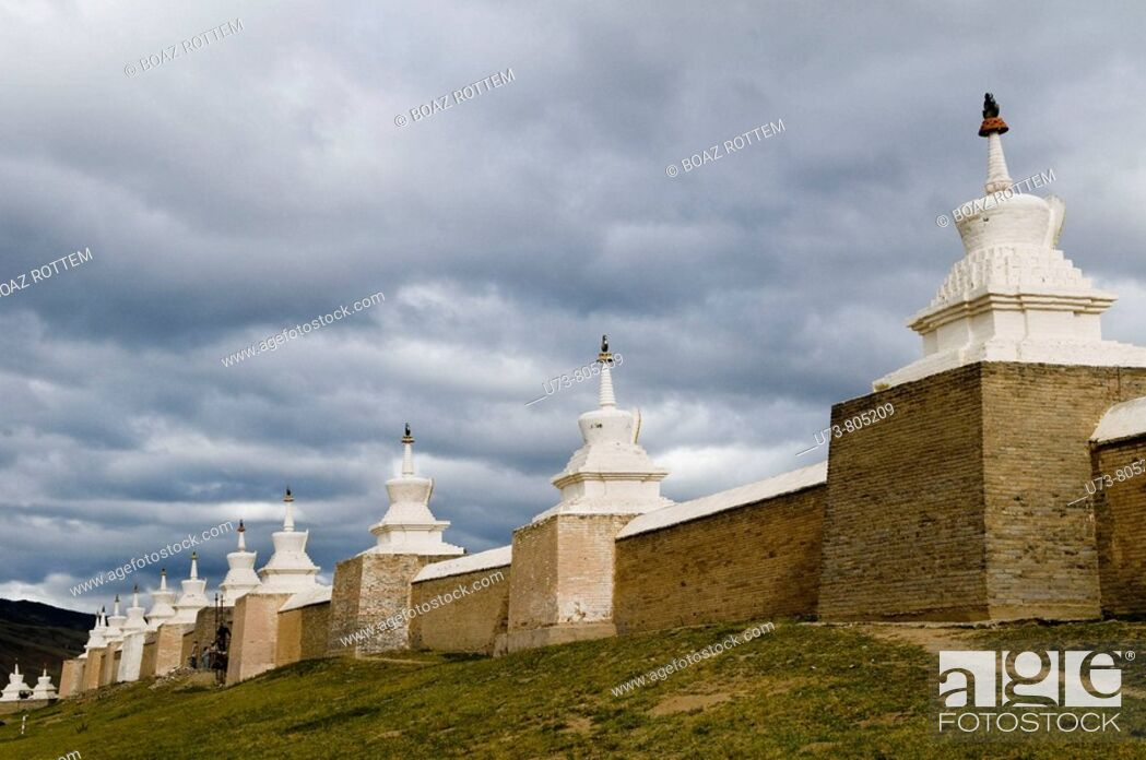 Stock Photo: Erdene zuu khiid monastery was the first Buddhist monastery in Mongolia  it was constructed in 1586 by Abrtai Khaan but was finished 300 years later.