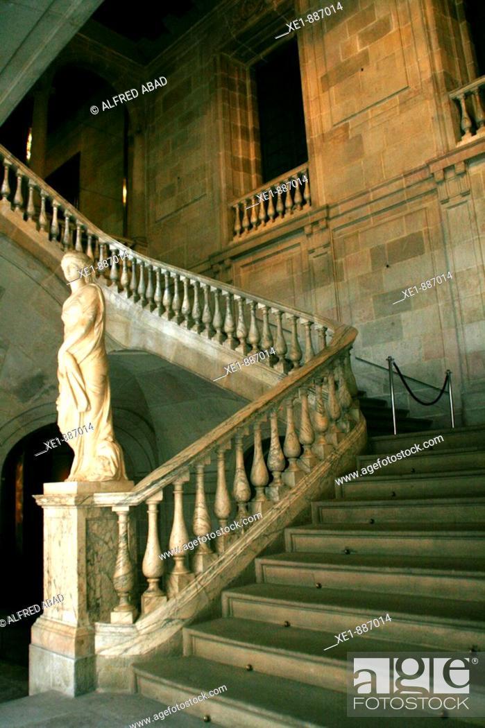 Stock Photo: Satiarcase in the Llotja de Mar building, Barcelona. Catalonia, Spain.