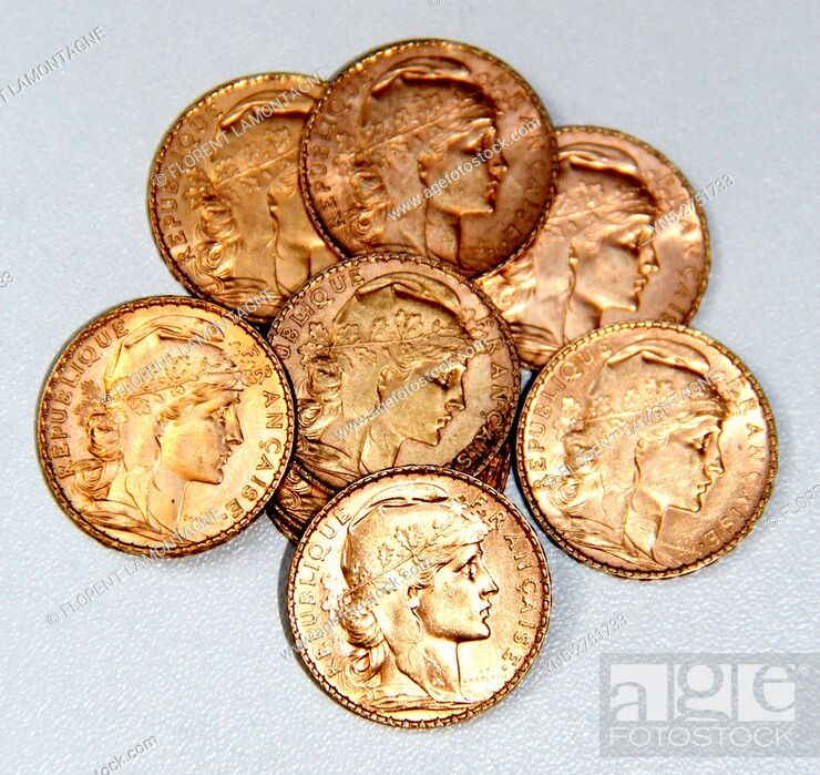 Stock Photo: old golden french coins.