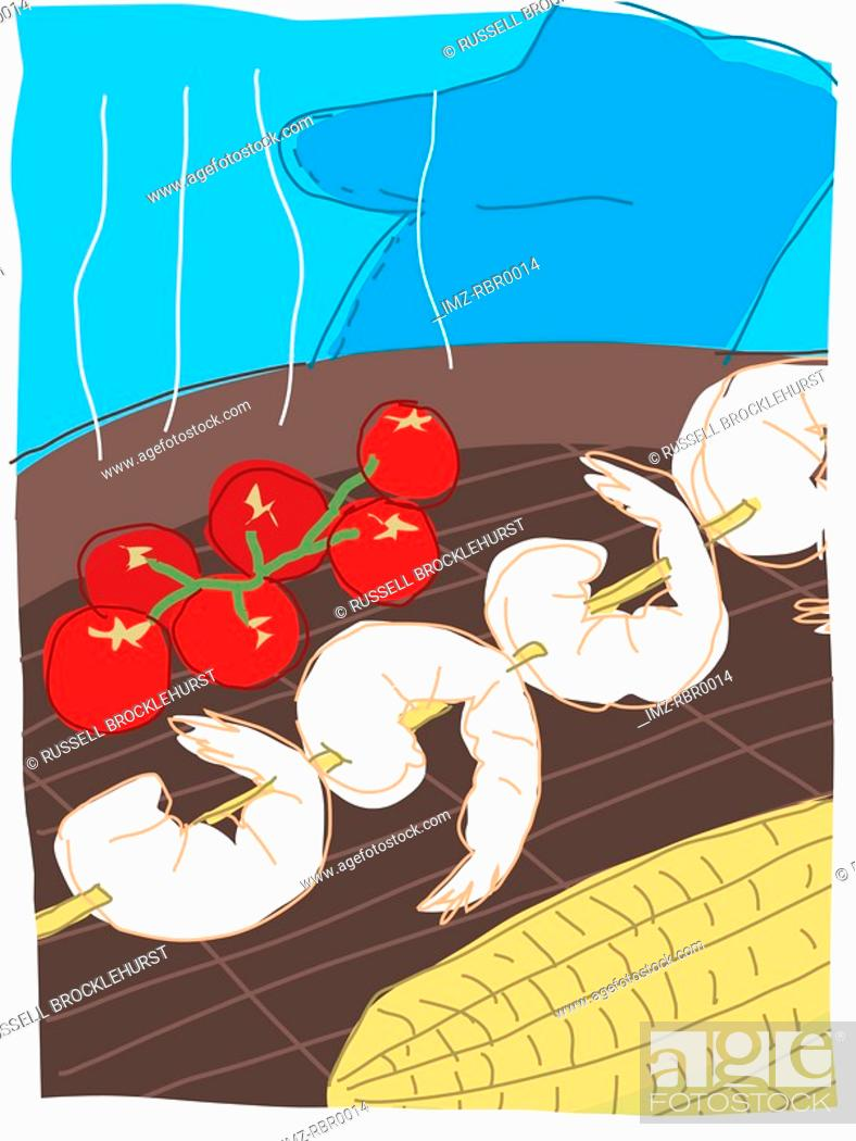 Stock Photo: shrimp skewers.