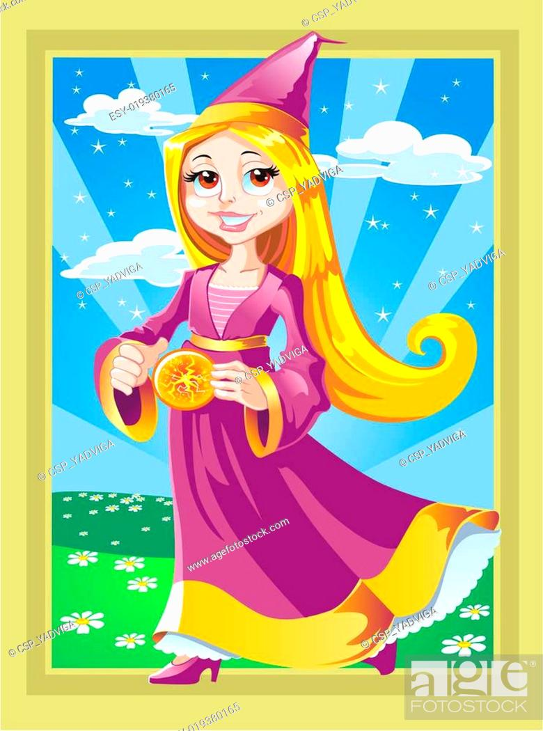 Stock Vector: fairy with fire ball.