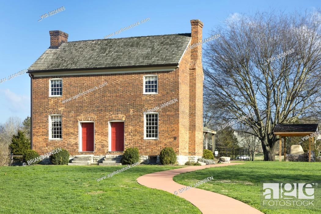 Stock Photo: Bowen Plantation House (b. 1787) adjacent to Mansker's Station - a Cumberland Settlement about 10 miles north of Nashville in Goodlettsville, Tennessee, USA.