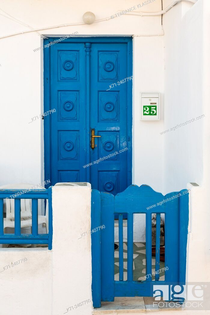 Stock Photo: A colorful doorway in Mykonos town, Chora, Mykonos, Greece, Europe.
