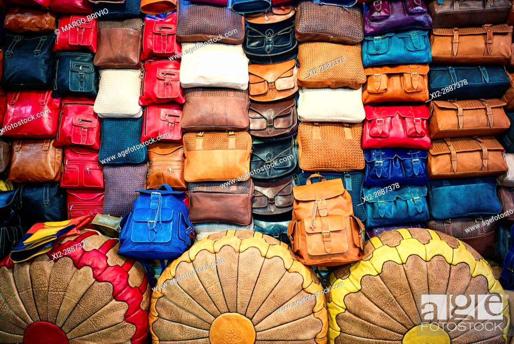 Stock Photo: Leather articles shop in the medina of Fez, Morocco.
