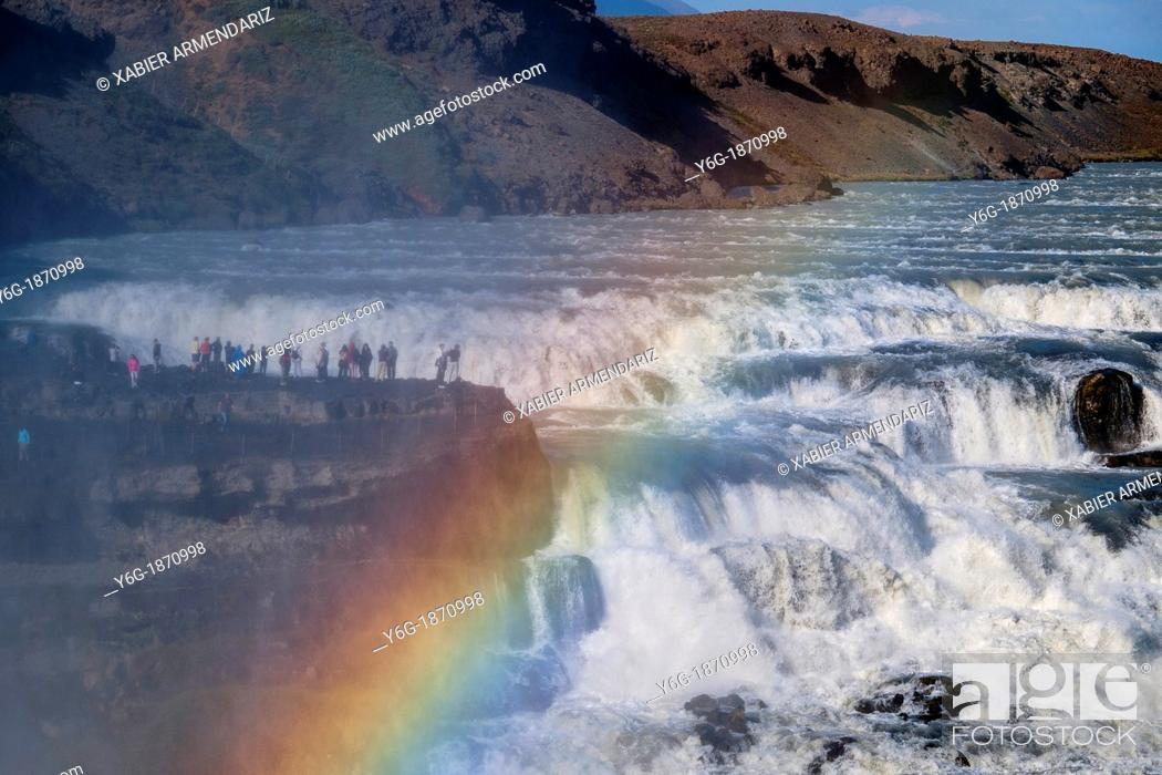 Stock Photo: People on the edge of the waterfall of Gullfoss, one of the largest and mighty waterfalls of Iceland  Golden Circle  Southeast Iceland  Iceland, Scandinavia.