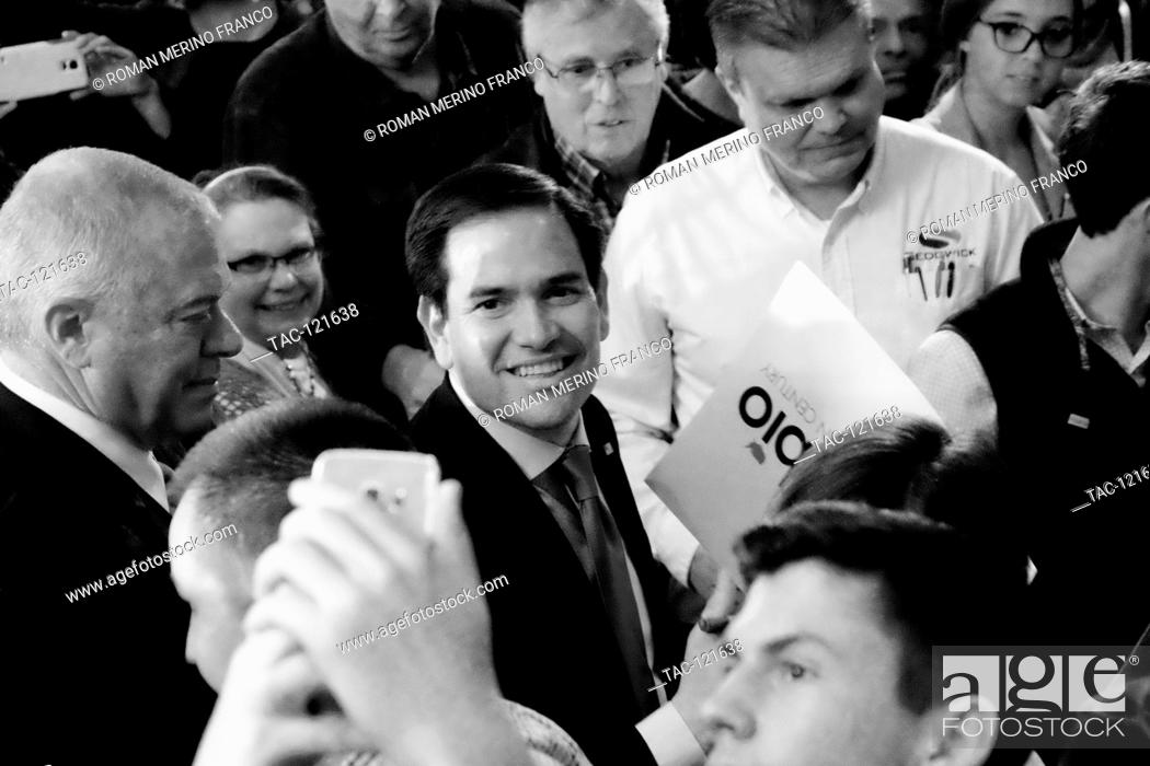 Stock Photo: Republican presidential canidate Senator Marco Rubio shakes hands of supporters while exiting his Rally during Super Tuesday on March 1, 2016 in Andover.