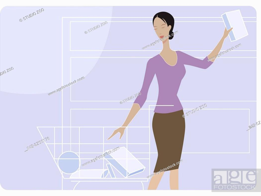 Stock Photo: Woman shopping for groceries.