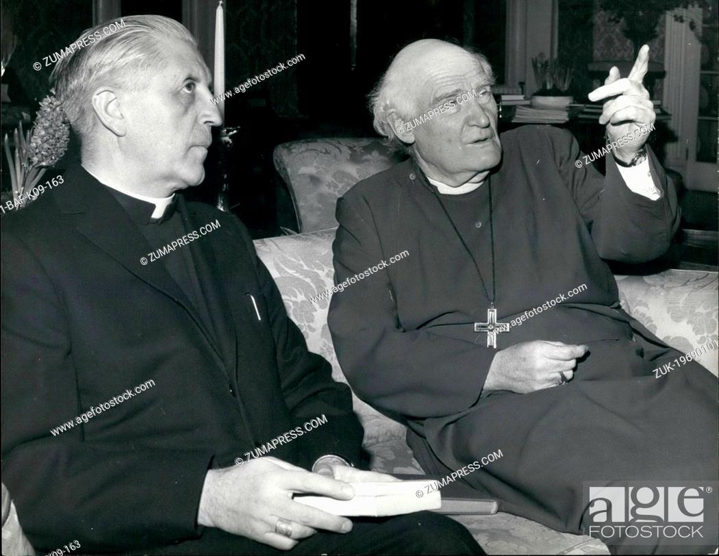 Imagen: Jan. 01, 1969 - Primate Of Belgium Calls On The Archbishop Of Canterbury: Cardinal Suenens, Primate of Belgium, called on the Archbishop of Canterbury at.