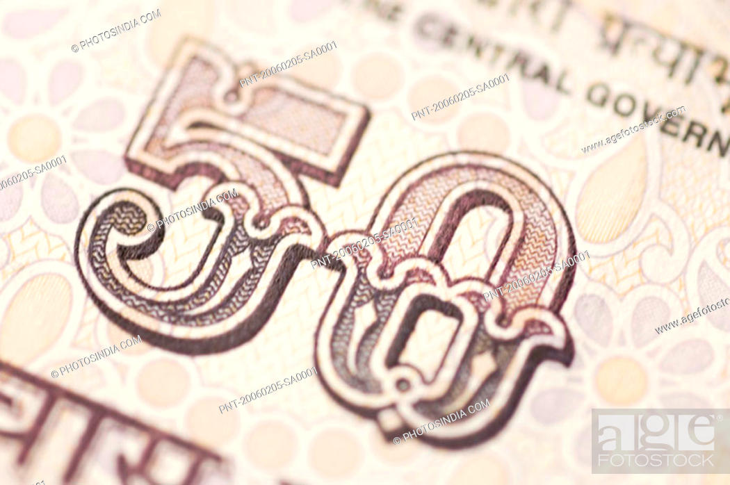 Stock Photo: Close-up of an Indian fifty rupee banknote.