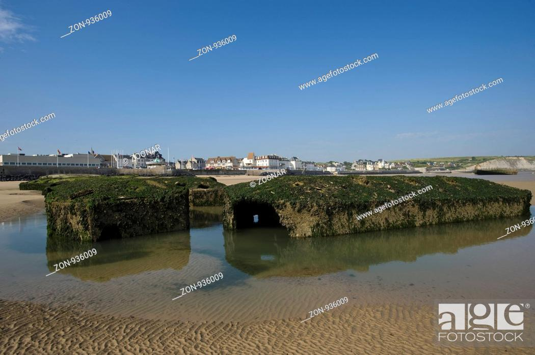 Landungbrÿcken Bei Ebbe Am Strand Von Arromanches Les Bains Normandie Frankreich Stock Photo Picture And Rights Managed Image Pic Zon 936009 Agefotostock