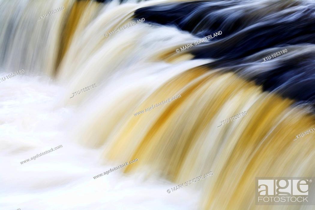 Stock Photo: Upper Aysgarth Falls in Wensleydale Yorkshire Dales England.
