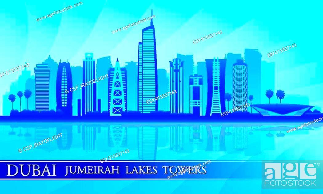 Stock Vector: Dubai Jumeirah Lakes Towers skyline silhouette background.