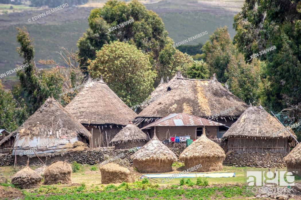 Stock Photo: Straw thatched huts in the villages outside of Debre Berhan, Ethiopia.