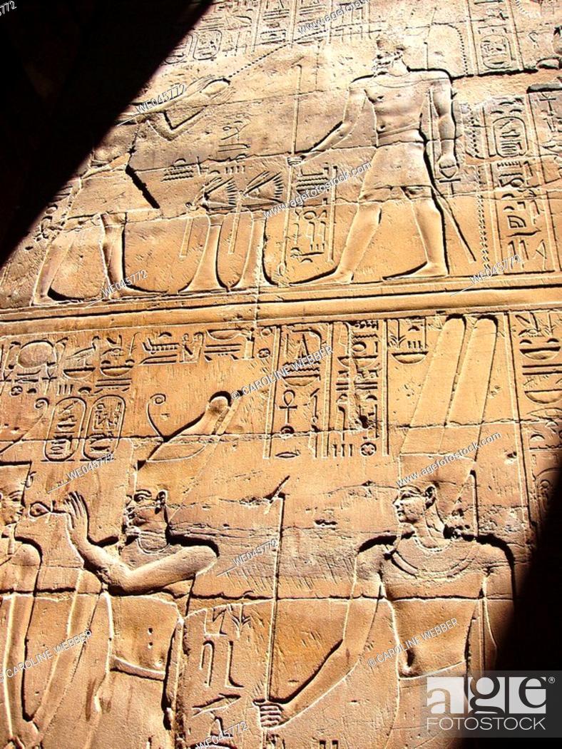 Stock Photo: Hieroglyphs at Luxor Temple.