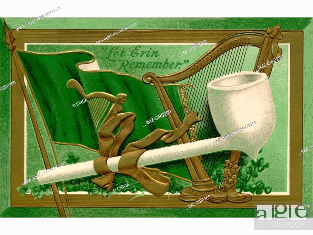 Stock Photo: A collage of a pipe, flag and harp with the text Let Erin Remember.