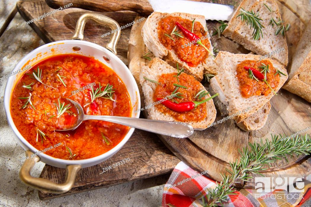 Stock Photo: Bruschetta bread with tomato and chili sauce and integral.