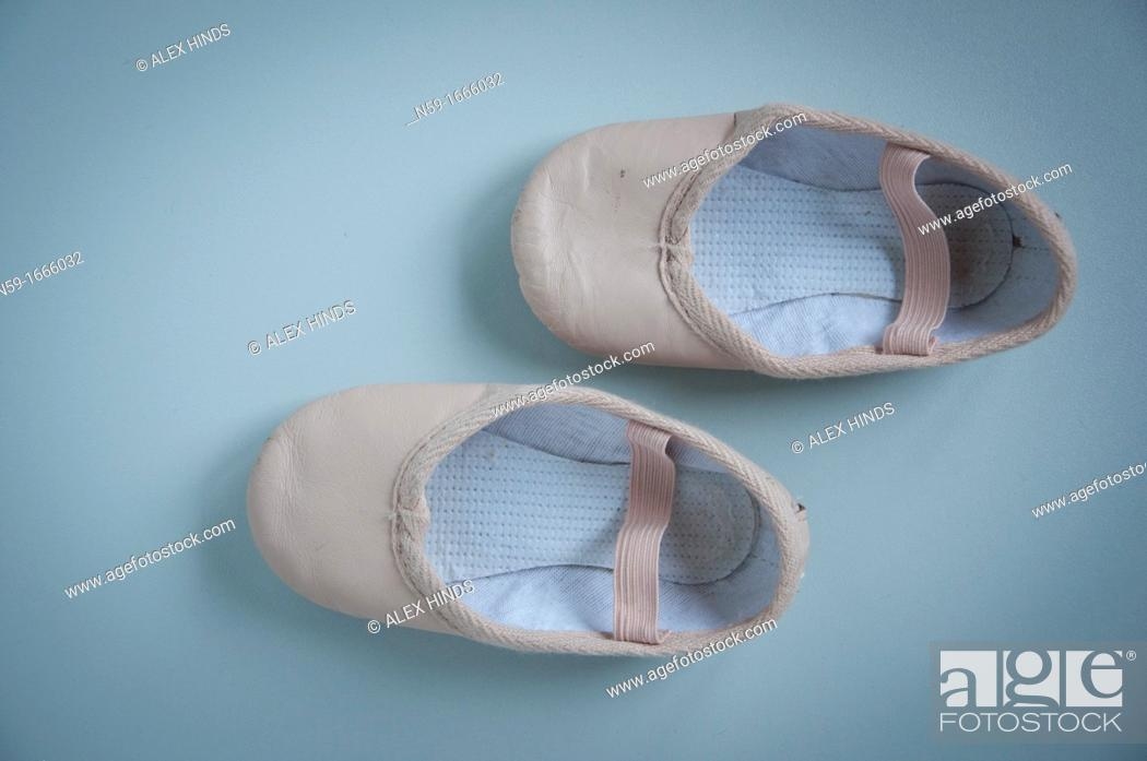 Stock Photo: Young child's ballet shoes.