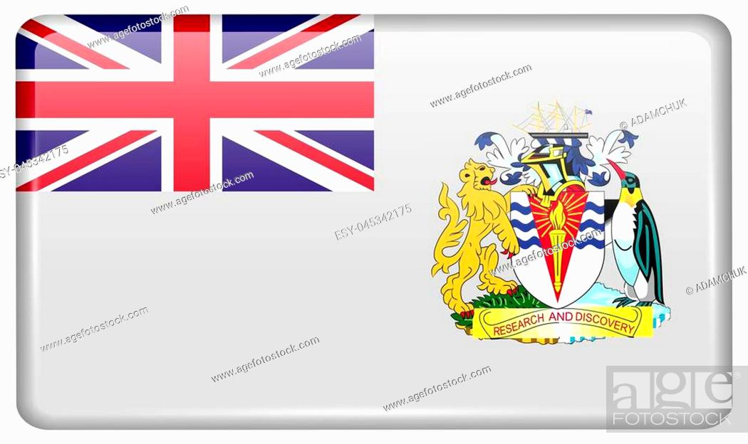 Stock Photo: Flags of British Antarctic Territory in the form of a magnet on refrigerator with reflections light. illustration.
