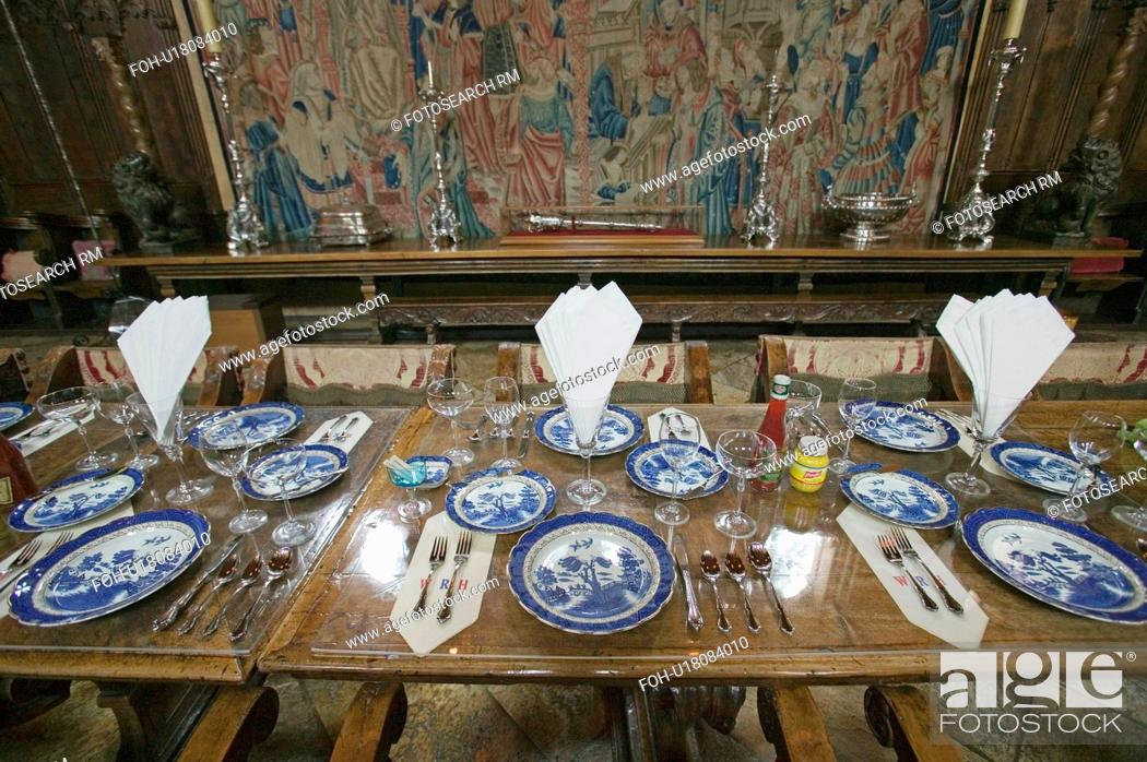Stock Photo: Dining Room and table settings at Hearst Castle, America's Castle, San Simeon, California.