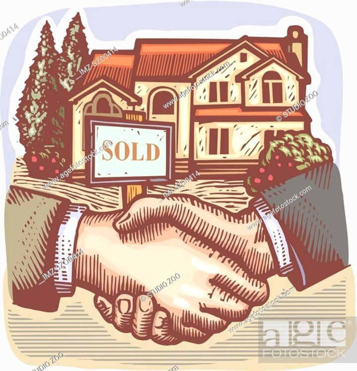 Stock Photo: People shaking hands in front of a real estate sold sign.