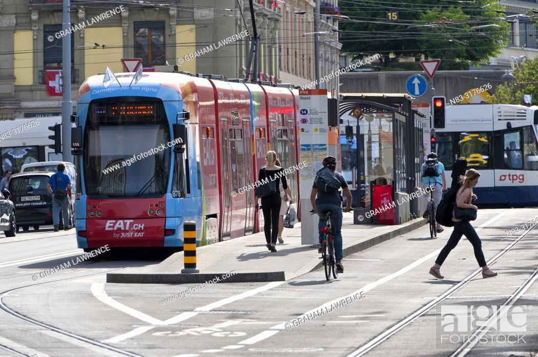 Stock Photo: Street scene, Tram, Geneva, Switzerland.