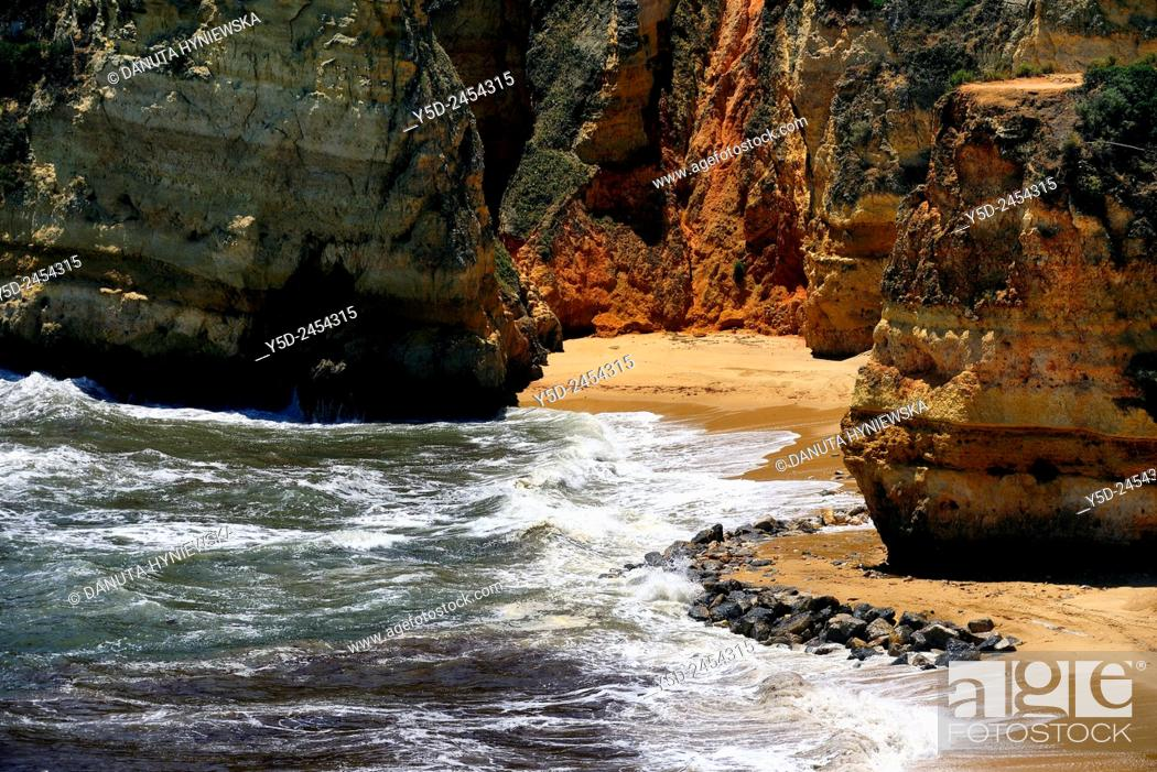 Stock Photo: Europe , Portugal , Algarve , Western Algarve , Faro district, Lagos, famous Dona Ana beach one of most beautiful beaches in Portugal.