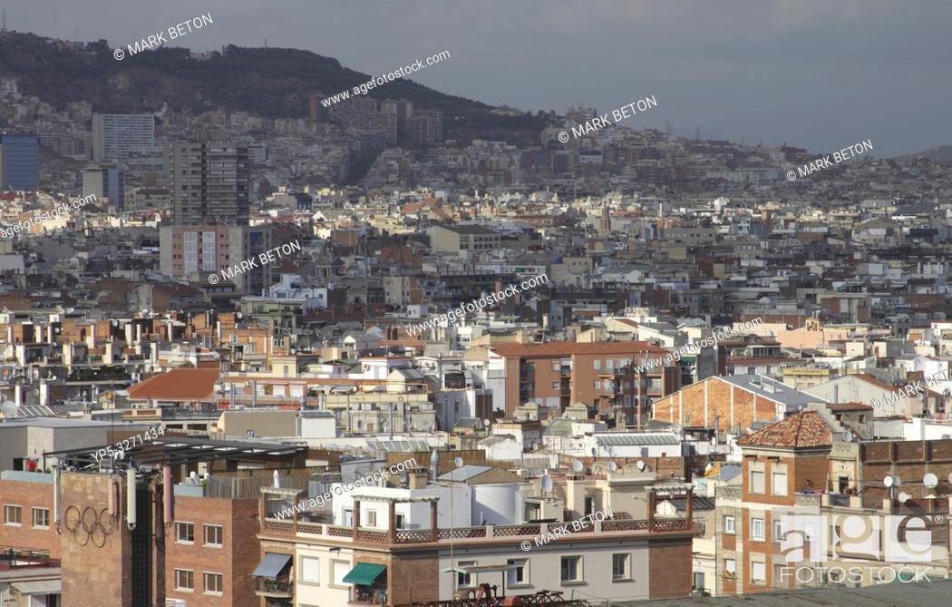 Stock Photo: Barcelona suburbs skyline Spain.