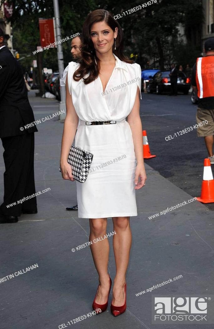 1bc32808de7 Ashley Greene (wearing a Salvatore Ferragamo dress and clutch) in ...